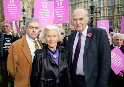 Honor Blackman, Vince Cable and Paul Braithwaite at the demonstration outside Parliament, 4 November, 2009